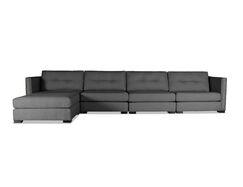 Timpson Plush Deep Modular Sectional with Ottoman Upholstery: Charcoal