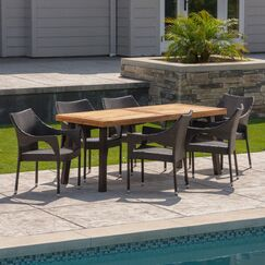 Melby Outdoor Acacia Wood/Wicker 7 Piece Dining Set