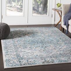 Parramore Oriental Pale Blue Area Rug Rug Size: Rectangle 9'3