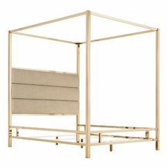 Wicklund Upholstered Canopy Bed Color (Frame/Headboard): Champagne Gold/Beige, Size: Queen