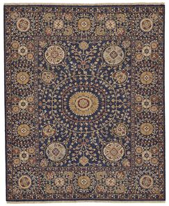 Kondo Hand-Knotted Wool Navy Area Rug Rug Size: Rectangle 3'6