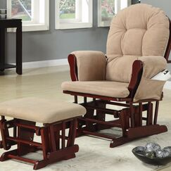 Caffee Chicly Elegant Glider Manual Swivel Recliner with Ottoman