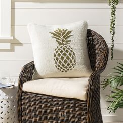 DeBary Pure Pineapple Outdoor Throw Pillow Color: Gold/White