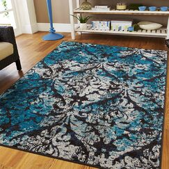 Bethzy Black/Blue Indoor/Outdoor Area Rug Rug Size: Rectangle 8' x 11'