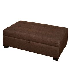 Farnum Lucent Storage Ottoman Upholstery: Brown/Burnt Orange Buttons