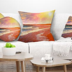 Desert Beach at Sunset Pillow Size: 16