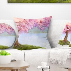 Floral Flowering Tree by Lake Pillow Size: 18