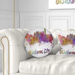 Cityscape Oklahoma Skyline Throw Pillow Size: 16