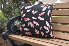 Lantana Wild Oak Leaves Floral Outdoor Throw Pillow Color: Black, Size: 16