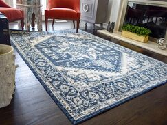 Park Vintage Classic Navy Blue/Ivory Area Rug Rug Size: Rectangle 2' x 3'4