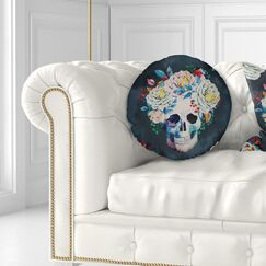 Floral Watercolor Vector Skull Throw Pillow Size: 20