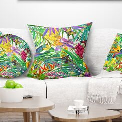 Floral Tropical Leaves and Flowers Pillow Size: 26