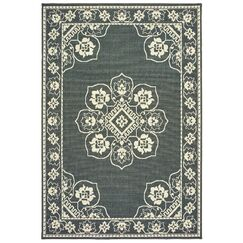 Salerno Floral Medallion Gray/Ivory Indoor/Outdoor Area Rug Rug Size: Rectangle 5'3