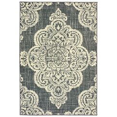 Salerno Over-scale Medallion Ivory Indoor/Outdoor Area Rug Rug Size: Rectangle 3'7