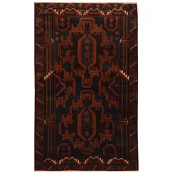 One-of-a-Kind Cueto Balouchi Hand-Knotted Wool Black/Brown Area Rug