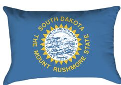 South Dakota Flag Fill Material: No Fill, Product Type: Pillow Cover, Cover Material: Spun Poly-Concealed Zipper-Indoor