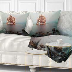 Seashore Rock Sea Symbol in Iceland Pillow Size: 18