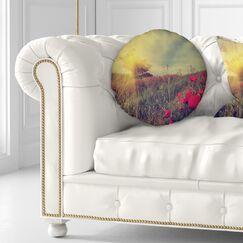 Floral Photo of Poppies at Sunset Throw Pillow Size: 16