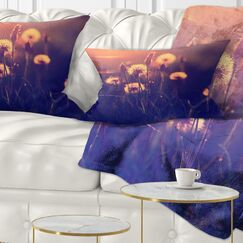 Floral Photo of Dandelion Garden Lumbar Pillow