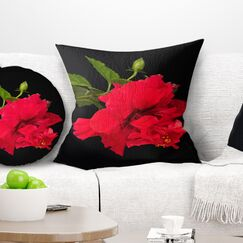 Floral Bright Hibiscus Pillow Size: 18