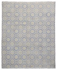 One-of-a-Kind Keels Turkish Knot Hand-Knotted Wool Blue/Beige Area Rug