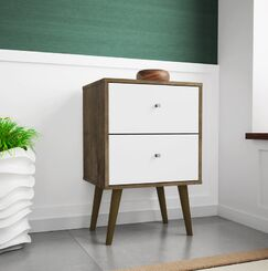 Lewis 2 Drawer Nightstand Color: Rustic Brown/White