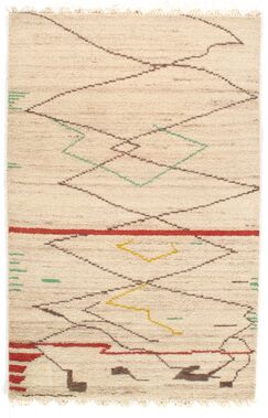 Genuine Fine Moroccan Hand-Knotted Wool Ivory Area Rug