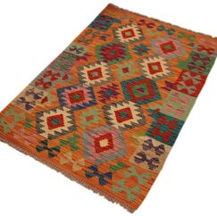 One-of-a-Kind Bakerstown Hand-Woven Orange/BlueArea Rug