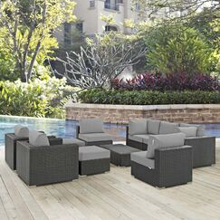 Leda 10 Piece Rattan Sunbrella Sectional Seating Group with Cushions Cushion Color: Gray