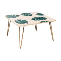 Schiffman Coffee Table Table Top Color: Natural, Table Base Color: Brass