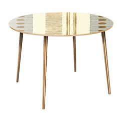 Holst Dining Table Table Top Color: Natural, Table Base Color: Brass