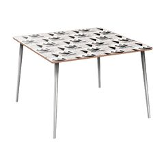 Husby Dining Table Table Base Color: Chrome, Table Top Color: Walnut