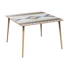Cameley Dining Table Table Base Color: Brass, Table Top Color: Walnut