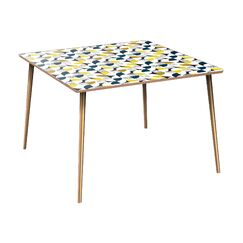 Coan Dining Table Table Base Color: Brass, Table Top Color: Walnut