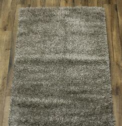 Margarita Shaggy Oriental Hand-Knotted Wool Gray/Charcoal Area Rug