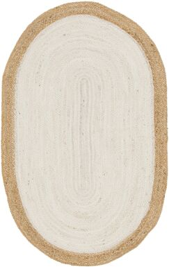 Swarthout Hand-Braided Ivory Area Rug Rug Size: Oval 3'3