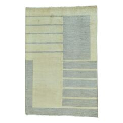 One-of-a-Kind Ferriera Modern Oriental Hand-Knotted Beige Area Rug