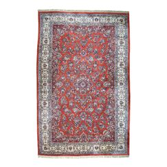 One-of-a-Kind Peiffer Old Persian Sarouk Mint Cond Hand-Knotted Red Area Rug