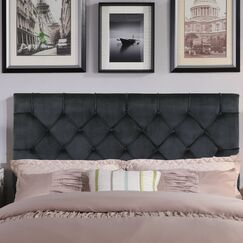 Heng Diamond Button Tufted Upholstered Panel Headboard Upholstery: Black, Size: Twin