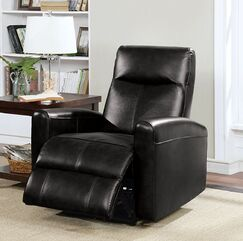 Rawley Power Glider Recliner Upholstery: Black