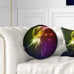 Portrait Illuminating Girl Head Fractal Throw Pillow Size: 20