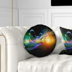 Abstract Waves of Music Fractal Design Throw Pillow Size: 16