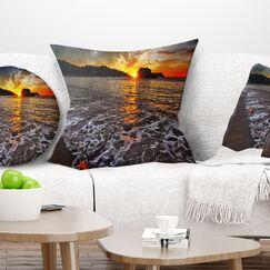 Seashore Setting Sun and Waves Pillow Size: 16