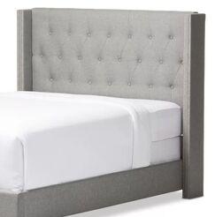 Beadling Upholstered Wingback Headboard Upholstery: Gray, Size: Single