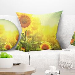Flowers Sunflowers Blooming on the Field Pillow Size: 16