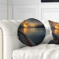 Landscape Tranquil Vancouver Downtown View Throw Pillow Size: 16