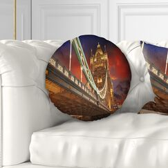 Cityscape Famous Tower Bridge at Night Throw Pillow Size: 16