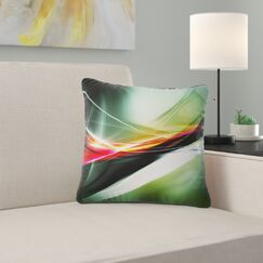 Abstract Elegant Color Pattern Pillow Color: Green