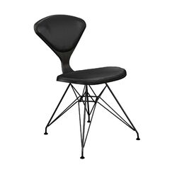 Trip Upholstered Dining Chair Frame Color: Black, Upholstery Color: Black, Leg Color: Black