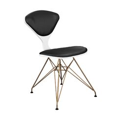 Trip Upholstered Dining Chair Frame Color: White, Upholstery Color: Black, Leg Color: Brass